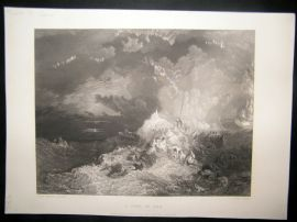 After Turner 1861 Antique Print, A Fire at Sea, Maritime, Art Journal